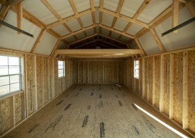 Lofted Garage Interior   Cardinal Portable Buildings